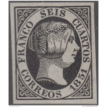FAC-17 ESPAÑA SPAIN. SEGUI OLD FACSIMILE REPRODUCTION. ISABEL II. 1851 6 &frac14 .