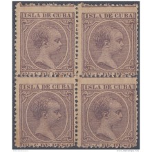 1894-57 CUBA ESPAÑA SPAIN. ALFONSO XIII. 1894. Ed.138. 2 &frac12 c BLOCK 4. VIOLETA PERFORATION ERROR. ORIGINAL GUM.