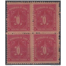 1927-50 CUBA REPUBLICA. 1927. Ed.8. 1c TASA POR COBRAR. POSTAGE DUE. BLOCK 4. GOMA ORIGINAL