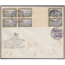 1951-FDC-125 CUBA REPUBLICA. 1951. FDC. LA BANDERA CUBAN FLAG ONLY AIR GUTTER PAIR ONLY AIR STAMPS LILY CARDENAS CANCEL.