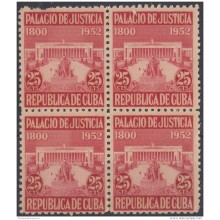 REP-135 CUBA REPUBLICA 1952. REVENUE. PALACIO DE JUSTICIA. UNUSED. BLOCK 4.