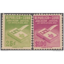 REP-136 CUBA REPUBLICA 1954. REVENUE. 25c, 1$ JUBILACION JUDICIAL UNUSED.