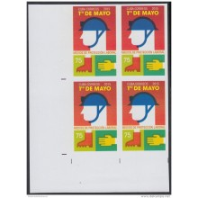 2015-183 CUBA MNH 2015. IMPERFORATED PROOF BLOCK 4. LABOR DAY. DIA DEL TRABAJADOR.