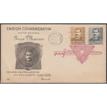 1952-FDC-102 CUBA REPUBLICA. 1952. FDC. JOSE MACEO. INDEPENDENCE WAR LILY CACHET. RED CANCEL