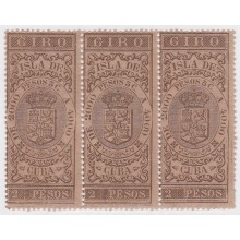 GIR-20 CUBA SPAIN ESPAÑA. REVENUE GIROS. 2$ BLOCK 3. ORIGINAL GUM.
