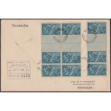1941-FDC-43 CUBA REPUBLICA (LG-1150) FDC 1941. 5c GUILLERMO MONCADA GUTTER PAIR REGISTERED COVER. INDEPENDENCE WAR.