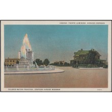 POS-311 CUBA POSTCARD. CIRCA 1940. HAVANA HABANA. QUINTA AVENIDA MIRAMAR FUENTE LUMINOSA. COLORED WATER FOUNTAINUNUSED.