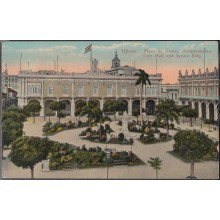 POS-319 CUBA POSTCARD. CIRCA 1929. HAVANA HABANA. PLAZA DE ARMAS. PRESIDENT´S HOUSE AND SENATE. DEFECTOS DOBLECES.