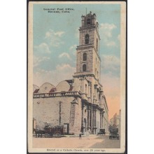 POS-323 CUBA POSTCARD HAVANA. HABANA CIRCA 1910. GENERAL POST OFFICE. CHURCH SAN FRANCISCO. UNUSED.