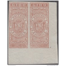 GIR-30 CUBA SPAIN ESPAÑA REVENUE. 1867 3,50 ESCUDOS. PROOF GIROS IMPERFORATED. ORIGINAL GUM.
