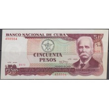 1990-BK-15 CUBA 1990 50$ CALIXTO GARCIA MADE IN CHINA. ERROR DE CORTE. RARE. UNC.