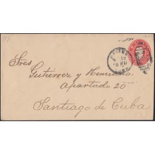 1899-EP-181 CUBA US OCCUPATION. 1899. 2c POSTAL STATIONERY COLON. NAIFE 81 Ed.55B. USED HAVANA TO SANTIAGO DE CUBA.
