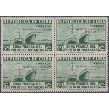 1936-310 CUBA REPUBLICA 1936. Ed.285. 50c ZONA FRANCA SHIP PROOF BLOCK 4 WATERLOW & SON. COLORES DIFERENTES.