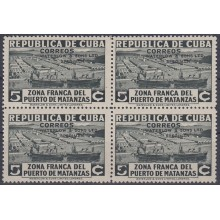 1936-311 CUBA REPUBLICA 1936. Ed.281. 5c ZONA FRANCA SHIP REX PROOF BLOCK 4 WATERLOW & SON. COLORES DIFERENTES.