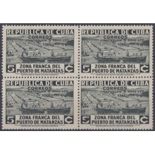 1936-312 CUBA REPUBLICA 1936. Ed.281. 5c ZONA FRANCA SHIP REX PROOF BLOCK 4 WATERLOW & SON. COLORES DIFERENTES.