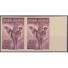 1962.119 CUBA 1962. Ed.929. 5$ AVES AUTOCTONAS. IMPERFORATED PROOF PAIR. RARE. BIRD AVES PAJAROS.