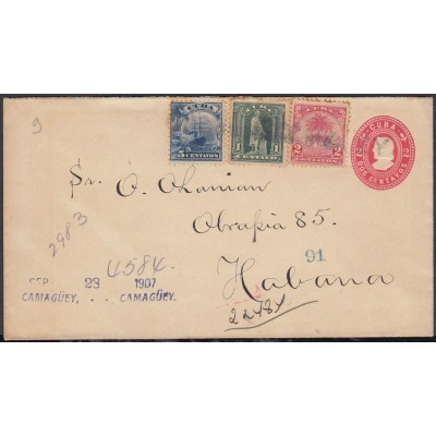 1899-EP-191 CUBA US OCCUPATION 1899. 1c FRONT COVER POSTAL STATIONERY 1911.