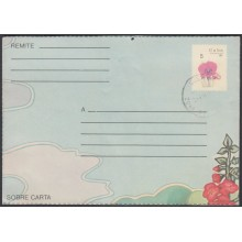 1987-EP-192 CUBA 1987. ERROR POSTAL STATIONERY ORCHILD WITHOUT GOLDEN COLOR.