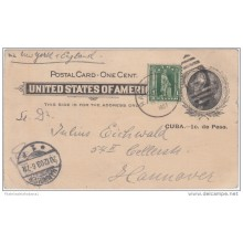 1899-EP-200 CUBA ESPAÑA US OCCUPATION. 1899. Ed.39. 1c SPECIAL DELIVERY CARD TO GERMANY. 1903.