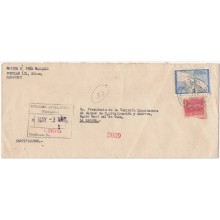 1960-H-56 CUBA (LG-1247) 1960 12c REGISTERED COVER CAMAGUEY TO HAVANA 1961.
