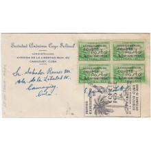 1939-FDC-42 CUBA REPUBLICA FDC. 1939. COHETE POSTAL ROCKET BLOCK 4. BLACK CANCEL.