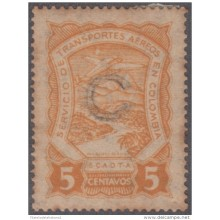 "1928-PV-90 CUBA AIR MAIL SCADTA 5c """"C"""" SURCHARGE. COLOMBIA"