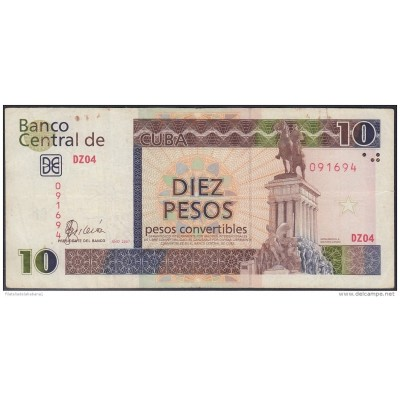 2007-BK-127 CUBA 2007 10 cuc REEMPLAZO REPLACEMENT USED SERIE DZ. USED.