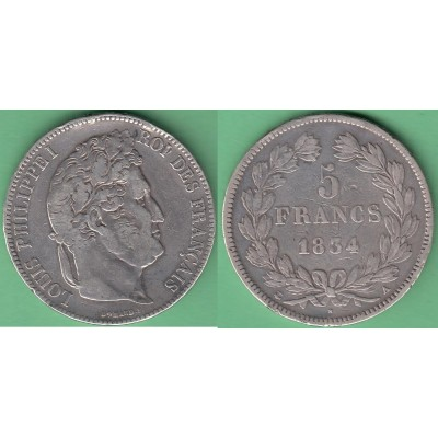M250 FRANCE SILVER 5fr LOUIS PHILLIPPE I 1834 A. PARIS.