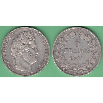 M251 FRANCE SILVER 5fr LOUIS PHILLIPPE I 1845 W. LILLE.