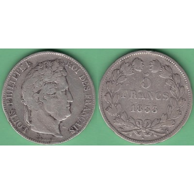M252 FRANCE SILVER 5fr LOUIS PHILLIPPE I 1833 T. NANTES.