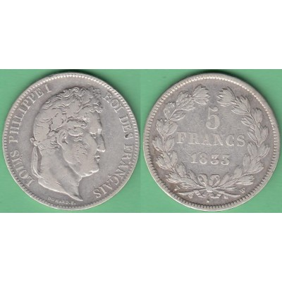 M255 FRANCE SILVER 5fr LOUIS PHILLIPPE I 1833 W. LILLE.