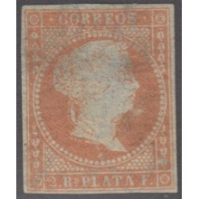 1855-165 CUBA ANTILLES SPAIN ESPAÑA.1855. Ed.3. 2 REALES UNUSED DEFECTO VISIBLE.