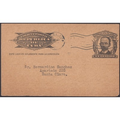 1904-EP-115 CUBA POSTAL STATIONERY. 1904. 1c MARTI. Ed.70. 1951 ADVERTISING CARTELES MAGAZINE. DARK CARBOARD.