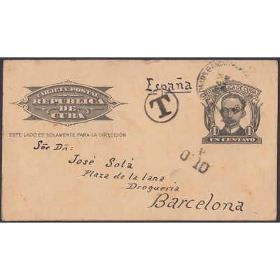 1904-EP-117 CUBA POSTAL STATIONERY. 1904. 1c MARTI. Ed.70. 1911 TO SPAIN, POSTAGE DUE.