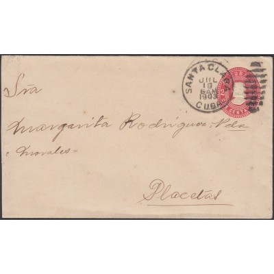 1903-EP-57 CUBA REPUBLICA POSTAL STATIONERY. 1903. 2c COLON Ed.77. SANTA CLARA 1903.