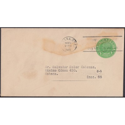 1949-EP-112 CUBA REPUBLICA POSTAL STATIONERY. 1949. 1c J. MIRO Ed.93. USED.