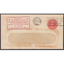 1949-EP-122 CUBA REPUBLICA 1949 2c J.M. GOMEZ POSTAL STATIONERY. FDC RED CANCEL.