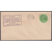 1949-EP-123 CUBA REPUBLICA 1949 1c J. MIRO POSTAL STATIONERY. FDC VIOLET CANCEL.
