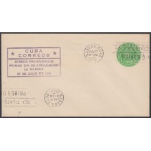 1949-EP-124 CUBA REPUBLICA 1949 1c J. MIRO POSTAL STATIONERY. FDC VIOLET CANCEL.