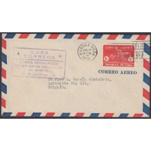 1949-EP-125 CUBA REPUBLICA 1949 8c AIRPLANE POSTAL STATIONERY. FDC VIOLET CANCEL TO HOLGUIN WITH BACKSTAMPS.