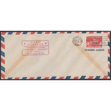 1949-EP-128 CUBA REPUBLICA 1949 8c AIRPLANE POSTAL STATIONERY. FDC RED CANCEL