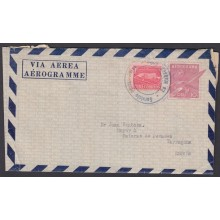1957-EP-45 CUBA REPUBLICA 1957 10c COHETE POSTAL ROCKET AEROGRAMME STATIONERY TO SPAIN.
