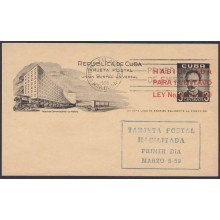 1959-EP-62 CUBA REPUBLICA 1959. 1c MARTI POSTAL STATIONERY FDC VIOLET CANCEL.