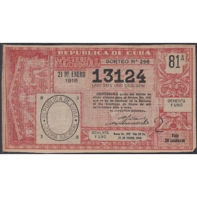 LOT-350 CUBA REPUBLIC OLD LOTTERY SORTEO DE LOTERIA Nº 298 21/01/1918