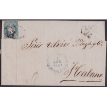 1857-H-294 CUBA SPAIN ISABEL II. 1857. Ant.7. 1859 STAMPLESS BAEZA REMEDIOS LOCAL TYPE.