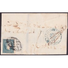 1857-H-295 CUBA SPAIN ISABEL II. 1857. Ant.7. 1859 STAMPLESS BAEZA ALQUIZAR GREEN.