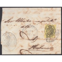 1858-H-184 CUBA SPAIN 1858. 1/2 ONZA 1858 OFFICIAL STAMPLESS BAEZA GUANAJAY BLACK.