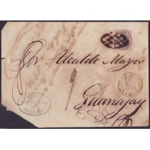 1858-H-186 CUBA SPAIN 1858. 1 ONZA 1858 OFFICIAL STAMPLESS BAEZA CAYAJABOS GREEN