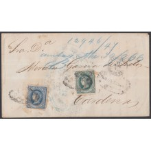 1866-H-31 CUBA SPAIN 1866. ISABEL II. 10-20c 1866 RARE REGISTERED COVER TO CARDENAS.
