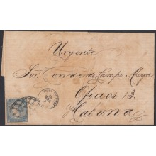 1868-H-41 CUBA SPAIN 1868. ISABEL II. 10c URGENTE FAST DELIVERY COVER TO HABANA.